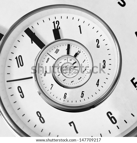 Twisted clock face - stock photo