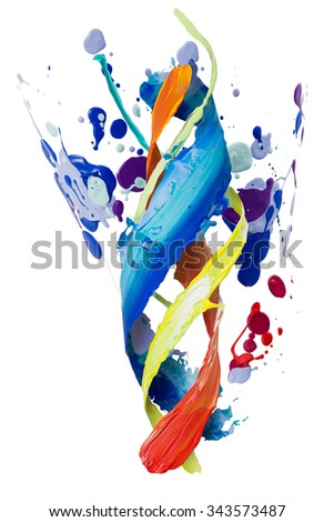Twisted smear of paint colorful spatters isolated on the white background - stock photo