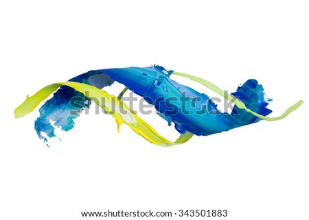 Twisted smear of paint isolated on the white background - stock photo