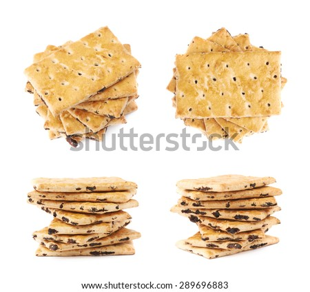 Twisted stack of raisins cracker cookies isolated over the white background, set of four different foreshortenings - stock photo