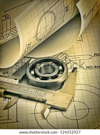 twisted technical drawing and callipers - stock photo