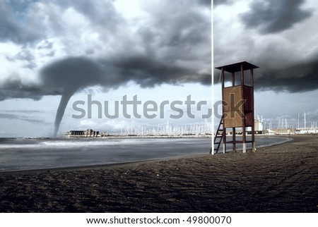 twister going to the dock - stock photo