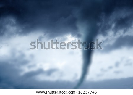 twister in stormy sky - stock photo