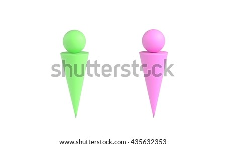Two abstract man figures. 3d illustration - stock photo