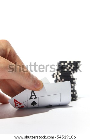 two aces and chips - stock photo