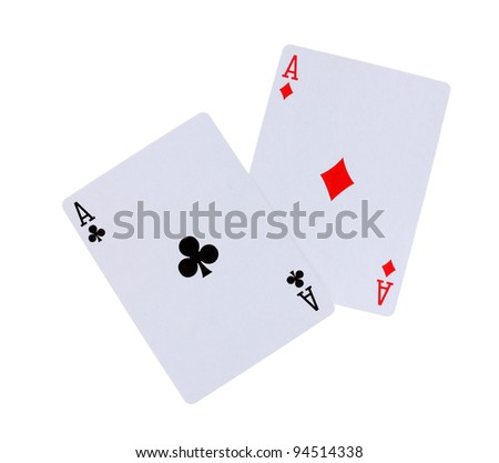 Two aces isolated on white - stock photo