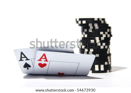 two aces with chips - stock photo
