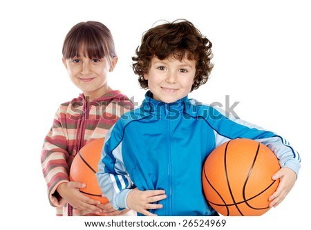 Two adorable children with basketball on a over white background - stock photo