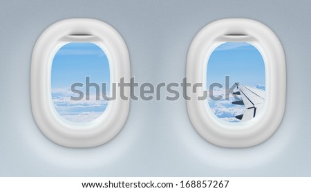two airplane or jet windows - stock photo