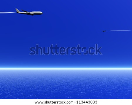 Two airplanes flying in the deep blue sky upon the ocean - stock photo