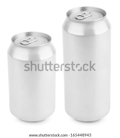 Two aluminum can isolated on white with clipping path - stock photo