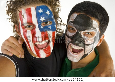 Two American fan in the friendly embrace. They're looking at camera. Front view. Closeup on face. - stock photo