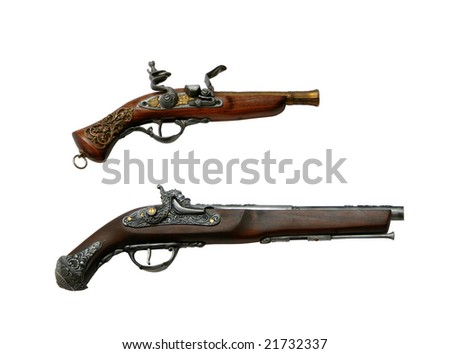 Two ancient pistols isolated on a white background - stock photo