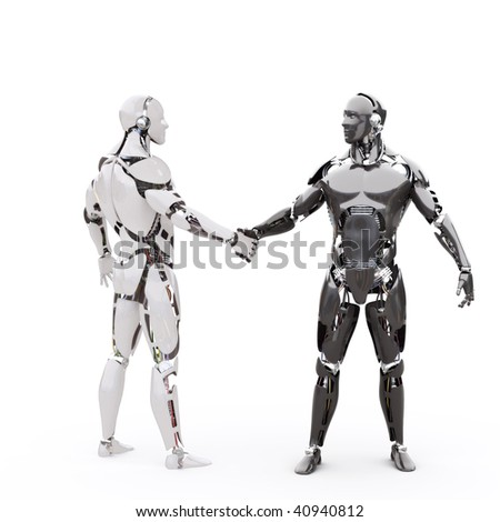 Two android shake hands - stock photo