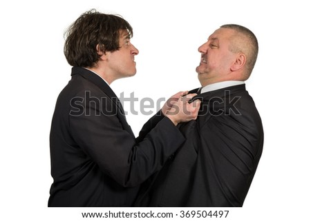 Two angry business colleagues during an argument, isolated on white background. - stock photo
