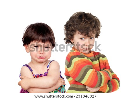 Two angry kids isolated on white background - stock photo