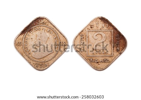 Two Annas  coin from India dated 1918. - stock photo