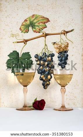 two antique glasses of wine background grape cluster decorated, romantic moment with flowers rose, natural light, vertical photo - stock photo