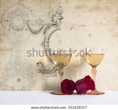 two antique glasses of  wine, on background decorated with drawing free hand, romantic moment with flowers rose, natural light, vertical photo, front view      - stock photo