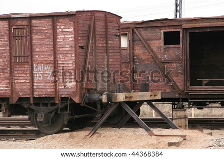 Two antique liner-trains at cinema town in Latvia. - stock photo