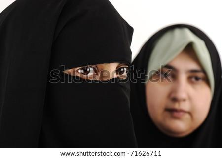 Two Arab woman muslim - stock photo