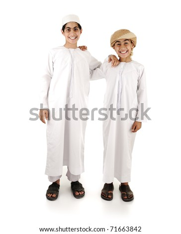 Two Arabic gulf boys in white traditional clothes, isolated on white - stock photo