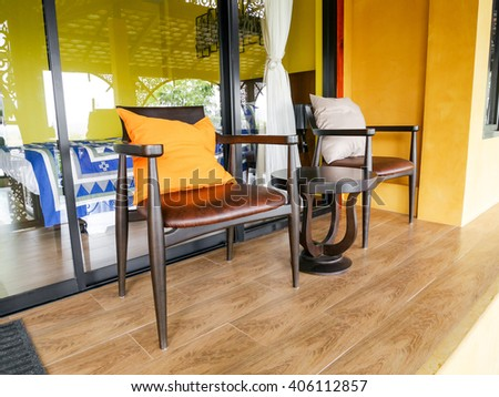 Two armchairs and table for rest. - stock photo
