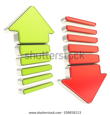 Two arrows with metal edging: glossy green up and shiny red down cursors isolated on white - stock photo