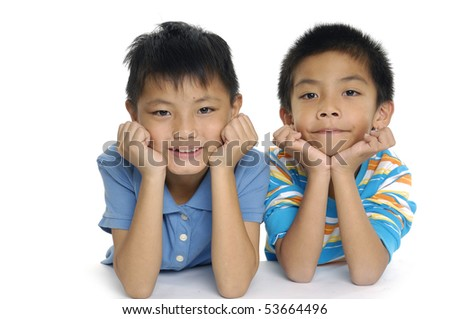 Two asian Brothers - stock photo