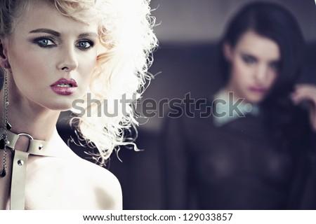 Two attractive ladies - stock photo