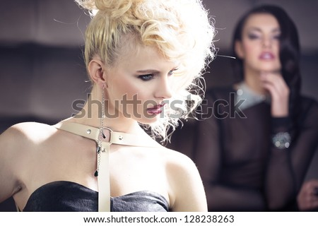 Two attractive women - stock photo