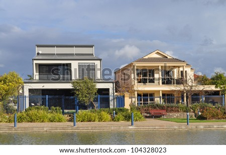 Two Australian family houses - stock photo