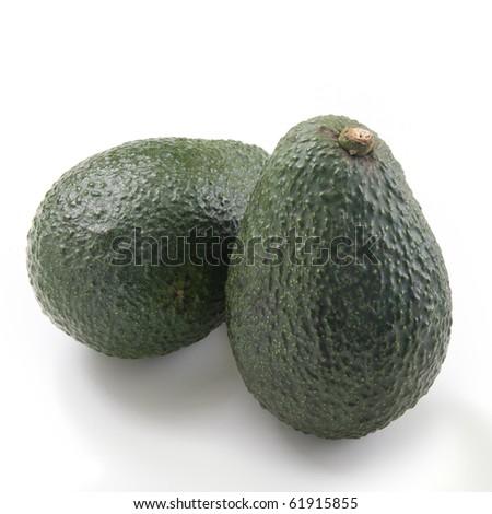 Two avocado isolated on white background - stock photo