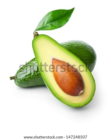 Two avocados isolated on white background - stock photo