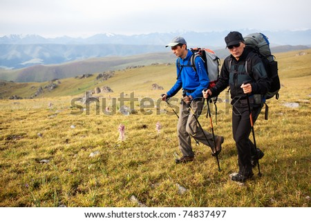 Two backpackers in wilderness mountains - stock photo