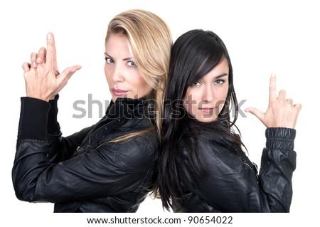 two bad girls on white background - stock photo