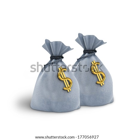 Two  bag and dollars on white background - stock photo