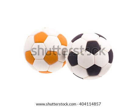 Two Ball football soccer isolated on white background - stock photo