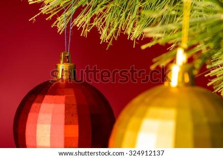 two balls on christmas tree - stock photo