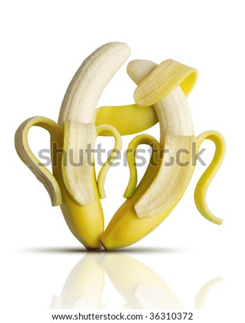 Two bananas dancing tango - stock photo