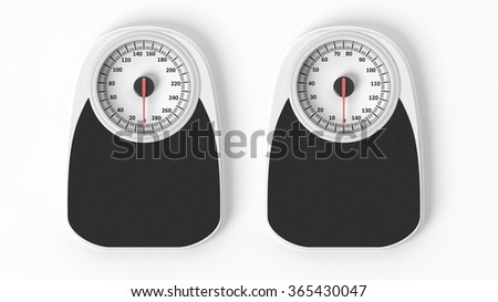 Two bathroom scales in pounds and kilos, isolated on white background. - stock photo
