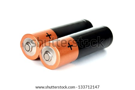 Two batteries on a white background  isolated on white - stock photo