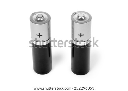 two battery size aa isolated on white background - stock photo