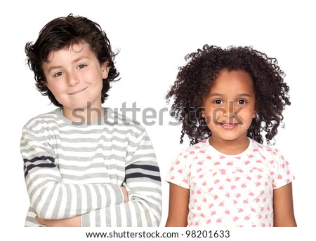 Two beautiful children isolated on a over white background - stock photo