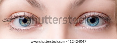 Two beautiful female eye with lens close up - stock photo