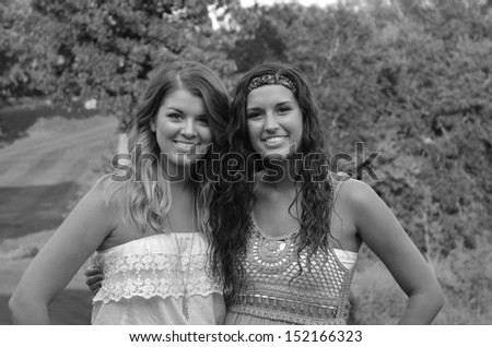 two beautiful teenage girls - stock photo