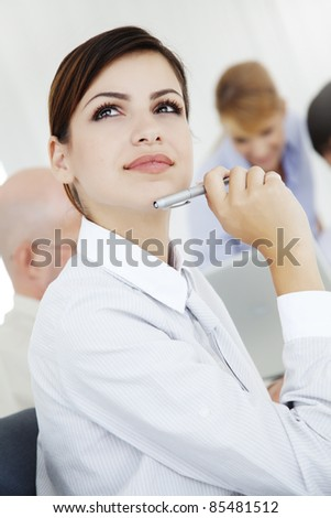 two beautiful young office workers - stock photo