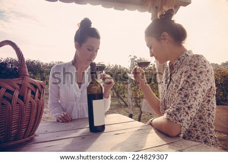 Two Beautiful Young Women Drinking Wine In Vineyard And Enjoying Sunset - stock photo