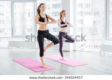 Two beautiful young women practicing yoga in studio - stock photo