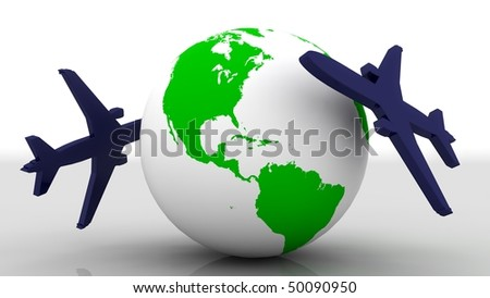 Two big airplane fly around the earth - stock photo